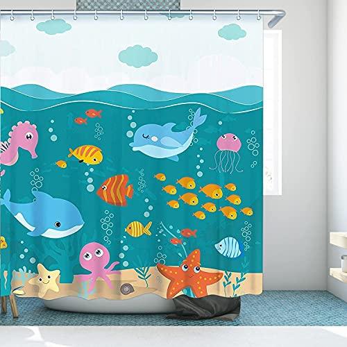 RosieLily Kids Shower Curtain, Kids Bathroom Decor, Baby Blue Shower Curtain, Boys Girls Teen Toddler Fish Cartoon Shark Whale Sea Shower Curtains, 72W x72H Shower Curtain with Hooks Waterproof Fabric