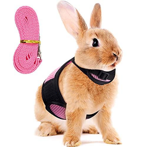 Verstellbares Hasen Geschirr Leine Weiches Geschirr für Kaninchen Mesh Kaninchen Geschirr Hamster Weste mit Elastischer Leine für Kleintiere Hasen Hamster Katzen Outdoor Gehen (Rosa)