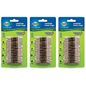PetSafe Busy Buddy Refill Ring Dog Treats for Select Busy Buddy Dog Toys, Natural Rawhide