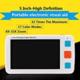 Lupa digital portátil con mango plegable para baja visión, 4 x 32 x zoom, 17 modos de color, 5 niveles para brillo