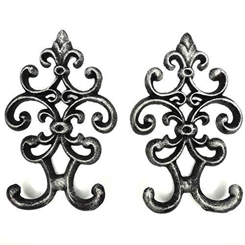 Comfify Cast Iron Vintage Double Wall Hook - Juego de 2 Perchas Decorativas montadas en la Pared   19.6 x 12.2 cm   con Tornillos y Anclas