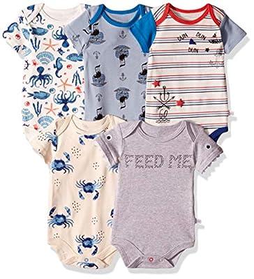 Rosie Pope Baby Newborn 5-Pack Bodysuits, Ahoy, 0-3 Months