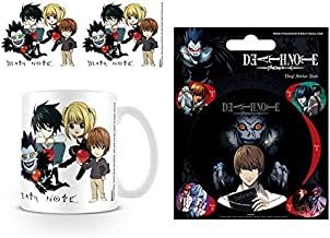 Set: Death Note, Chibi Characters Photo Coffee Mug (4x3 inches) and 1 Death Note, Sticker Adhesive Decal (5x4 inches)
