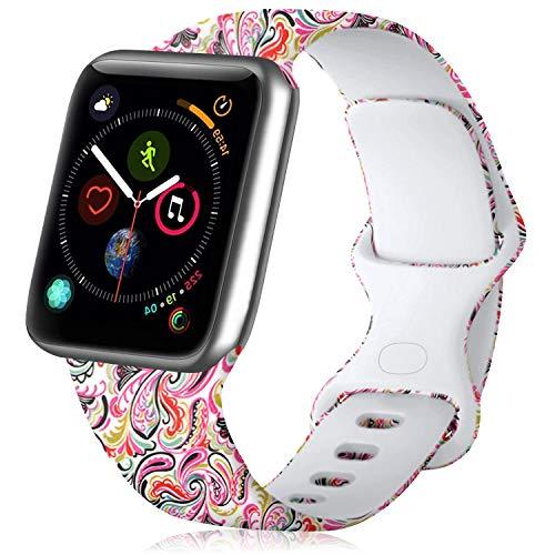 Mugust Correa Compatible con Apple Watch 38mm 40mm 42mm 44mm, Pulsera de Repuesto Silicona Suave Patrón Impresión para iWatch Series 6 5 4 3 2 1 (38mm/40mm S/M, Nube Colorida)