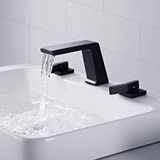 BULUXE Waterfall Widespread Bathroom Sink Faucet, Contemporary Waterfall 3 hole Double-Handle Bathroom Sink Faucet Solid Brass (Matte Black)