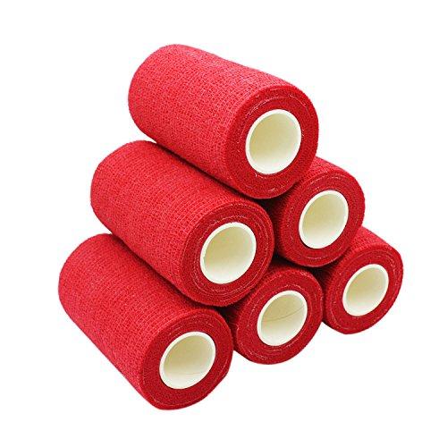 COMOmed non-stick pelle benda coesiva elastica mediche autoadesive benda mani caviglie nastro elastico autoadesivo salvapelle sport nastro bendaggio sportivo 10 cm X 4.5 m, Rosso 6 rotolo