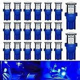 DEFVNSY - Lot de 20 - Brillant Bleu T10 Ampoules LED de Rechange pour intérieur de Voiture 194 168 2825 W5W 5e génération 5050 Chipsets 5SMD Source d'éclairage pour Plaque d'immatriculation 12V