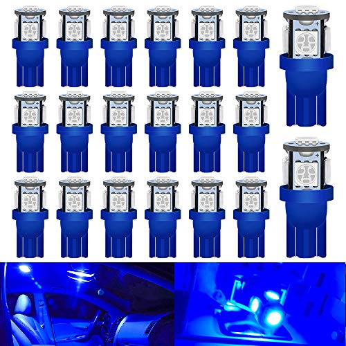 Qoope 194 LED Bulbs Blue Super Bright 5050 Chipset 5SMD, T10 LED Bulbs / 2825 168 LED Bulbs Replacement for 12V Car Interior Dome Interior Dome Map Door Courtesy License Plate Lights (Pack of 20)