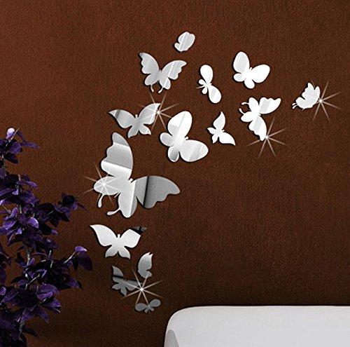 EXTSUD 14 Stück DIY Schmetterlinge Wanddekoration Kombination 3D Spiegel Wandaufkleber Wanddeko Wandsticker Haus Dekoration