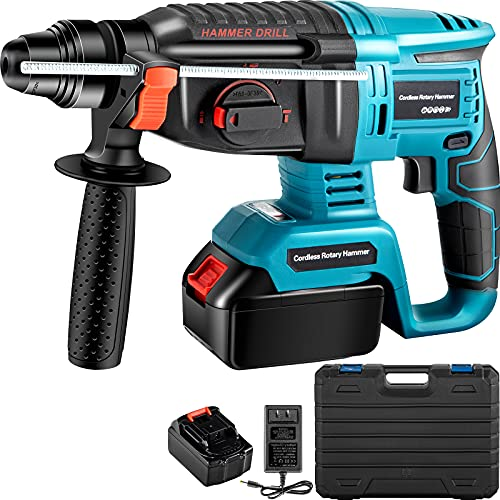 VEVOR SDS-Plus Rotary Hammer Drill, 1400 RPM & 450 BPM Variable Speed Electric Hammer, 4 Functions Cordless Drill w/Ruler, 360? Rotary Handle Demolition Hammer Ideal for Concrete, Steel, and Wood