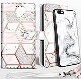 SHIELDS UP Funda para iPhone 6s Plus/iPhone 6 Plus,Carcasa Magnética [Desmontable] Duradera y Delgada,Protección RFID,Cobertura [Cuero Vegano] Tipo Billetera para Apple iPhone 6s Plus/ 6 Plus -Mármol