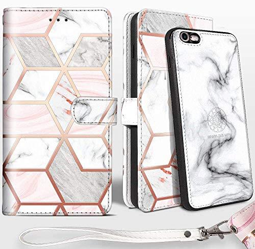 SHIELDS UP Cover iPhone 6s/iPhone 6, 2in1 Custodia Portafoglio in Pelle Vegana, Magnetica Antiurto TPU Sottile [Protezione RFID] per iPhone 6s/6 -Marmo
