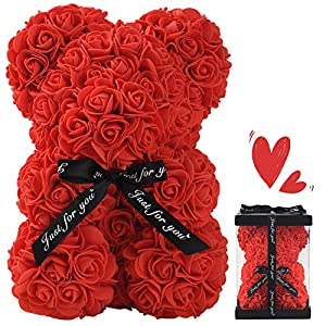 Silk Flower Arrangements ZFDEBY Rose Flower Bear-Hand Made Teddy Bear,Best Artificial Decoration Gifts for Mothers Day,Valentines Day,Bridal,Weddings,The Perfect Party Clear Gift Box (red)