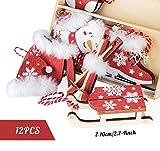 Adorfine Deco Christbaum Schmuck, Wintersport Weihnachtsanhänger aus Holz in Bordeaux- Schlittschuhe, Schlitten, Handschuhe,Weihnachtsmann Baumbehang mit Kuscheligen Plüsch - 2