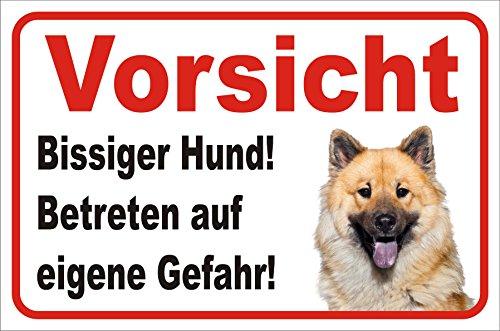 AdriLeo Schild - Vorsicht Eurasier Bissiger Hund (20x30cm)