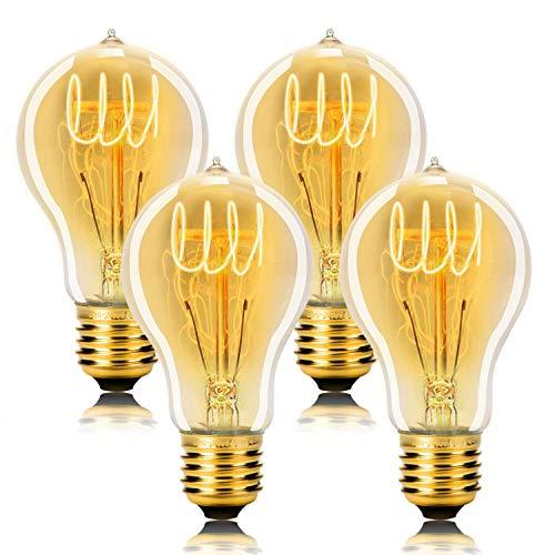 WEDNA A19 E27 60 W Bombilla Edison Vintage, Regulable 220V Edison Lámpara, de vidrio Filamento de tungsteno - Pack de 4