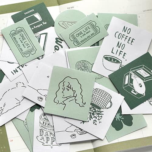 シール フレークシール 60枚セット 手帳ステッカー 手描き イラスト 韓国風 スケジュール 手帳ステッカー 手紙 カレンダー シンプル シンプルでかわいい (抹茶クリーム)