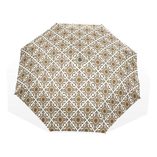 LASINSU Regenschirm,Thai Mosaic Art Culture Stilisierte abstrakte Linien Punkte Muster Folk Asian Design,Faltbar Kompakt Sonnenschirm UV Schutz Winddicht Regenschirm