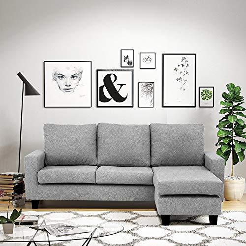 CasaStyle Four Seater Lauren Fabric Interchangable L Shape Sofa Set (Light Grey)