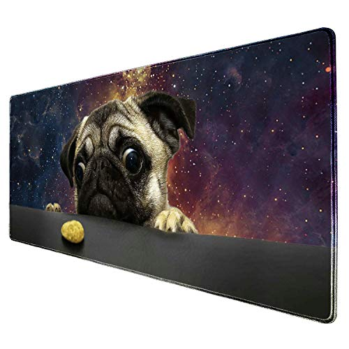 """ZYCCW Large Gaming XXL Mouse Pad with Stitched Edge 31.5""""x11.8""""x0.15"""" Marble Mouse Mat Customized Extended Gaming Mouse Pad Anti-Slip Rubber Base Ergonomic Mouse Pad for Computer (Nebula Pug Dog)"""