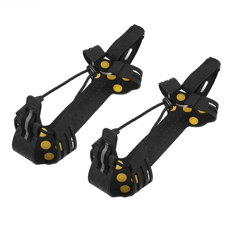ホテル扱うk-outdoor 10本爪 アイゼン 滑り止めスパイク 転倒防止 雪道 登山 トレッキング 安全 脱着簡単 耐久性 男女兼用