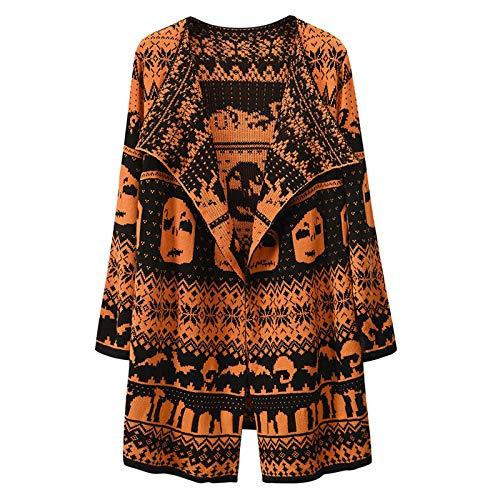 Moda Mujer otoño e Invierno Nuevo suéter Cardigan Chaqueta de Mujer Solapa Calavera Lana cárdigan Medio Largo cálido Invierno Chaqueta