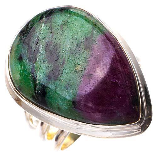 StarGems Natural Zoisita rubí Anillo de plata de ley 925 único hecho a mano 14 E2146