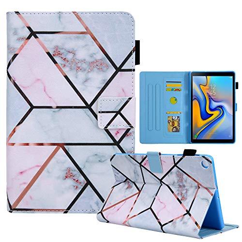 Billionn Funda para Samsung Galaxy Tab A 8.0 2019 (SM-T290 T295 T297) + protector de pantalla, piel sintética de alta calidad, con bolsillos, mármol geométrico