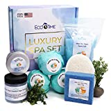 Bath and Body Gift Basket Spa for Women - 8 Piece Thyme White Tea Bath and Body Set with 3 Large Fizzies Bath Bombs, Epsom Salt, Butter Soap, Body Sugar Scrub, Soy Wax Candle and Loofah – Lux Bath Spa