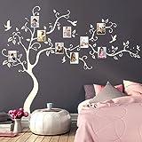 Wandtattoo Baum mit Bilderrahmen und Vögeln Fotobaum Wandsticker Kinderzimmer/weiß / 160 cm hoch x 200 cm breit