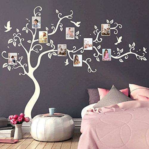 Wandtattoo Baum mit Bilderrahmen und Vögeln Fotobaum Wandsticker Kinderzimmer/grau / 160 cm hoch x 200 cm breit