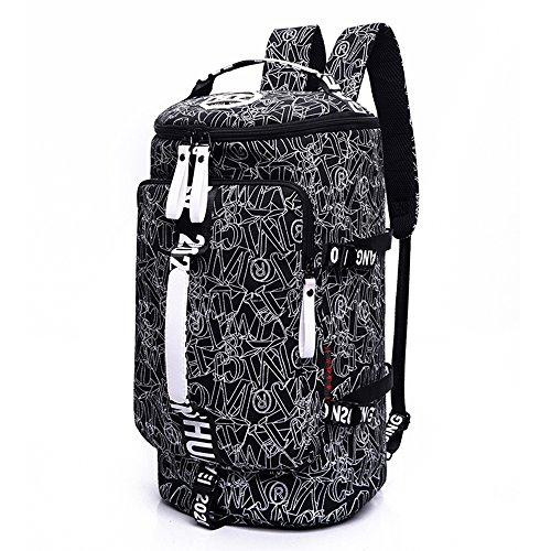 WOMJIA WOMJIA Bunt Reisetsache Sporttasche Weekender Tasche Handgepäck aus Canvas Segeltuch 35 Liter Schwarz