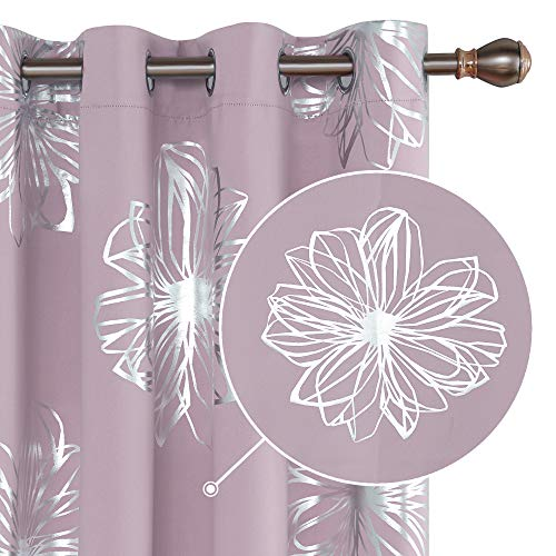 Deconovo Blackout Curtains Flower Foil Printed Thermal Insulated Room Darkening Grommet Window Draperies for Girl's Bedroom Lavender 52W x 54L 1 Pair