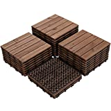 Yaheetech 27PCS Patio Pavers Tiles Interlocking Wood Flooring Deck Tiles Hardwood Flooring Fir Wood and Plastic Indoor Outdoor Applications Stripe Pattern 12 x 12in