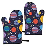 Space Planet Oven Mitt - Heat Resistant Kitchen Gloves,Microwave Kitchen Baking Mitts Natural-Fitting Shape Fun Oven Mitt Set,1 Pair