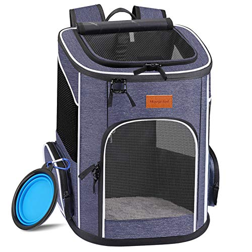 morpilot Dog Backpack Carrier, Foldable Cat Backpack Carrier for Small Cats and Dogs, Ventilated Design Pet Travel Carrier Backpack with Inner Safety Strap, Cat Carrying Bag for Travel Hiking Camping