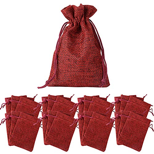 BUONDAC 24pcs Bolsas Bolsitas Tela Saquitos Bolsas Calendario Adviento Navidad Arroz Regalo Joyas Caramelo Dulces Recuerdo Favores Detalles Boda Fiesta Bautizo con Cordón Rojo