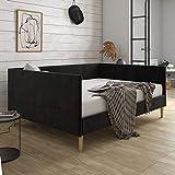 DHP Franklin Mid Century Upholstered, Full Size, Black Velvet Daybed,