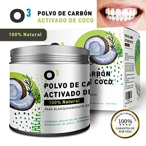 O³ Carbon Activado Dientes – Polvo Blanqueador Dental De Coco 100% Natural – Dientes Blancos Con Polvo De Carbon Activo - Blanqueador De Dientes