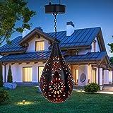 Solarlaterne Für Außen Hängend Metall Wassertropfen Solar Hohl Tropfenförmige Hohllampe Schmiedeeisen Projektionslampe Solarlampe Gartenlampe Hängeleuchte