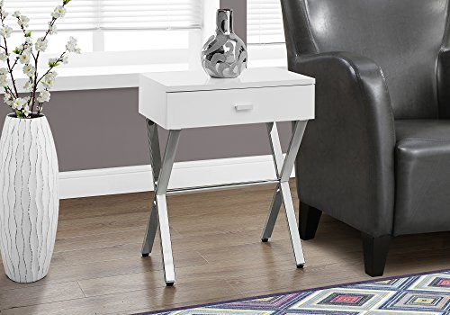 Monarch Specialties Chrome Metal Night Stand Accent Table, 22.00 x 12.00 x 18.00