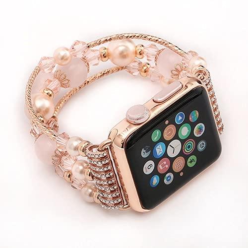 YMYGCC Correa Reloj Mire la Banda de la Correa de la Pulsera 44mm 40 mm de Las Mujeres Hechas a Mano de Las Mujeres Accesorios 711 (Band Color : Pink, Band Width : For 42 and 44mm)