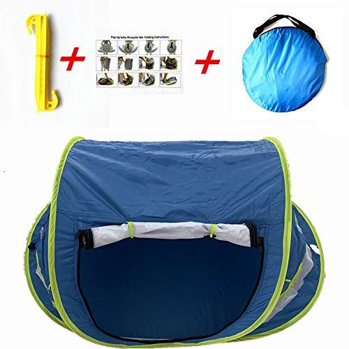 UV50 Strand Speeltent Pop-Up Baby-Klamboe, Draagbare Zonnescherm Anti-Muggen Kinderbedje Opvouwbaar Strandspel Schaduwmat (Draagtas Voor Buitenshuis),Blue