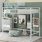 Merax Twin Heavy Duty Metal Loft Bed with Desk, Shelf Kids, Teens and Adults, White with Two-Side Ladders