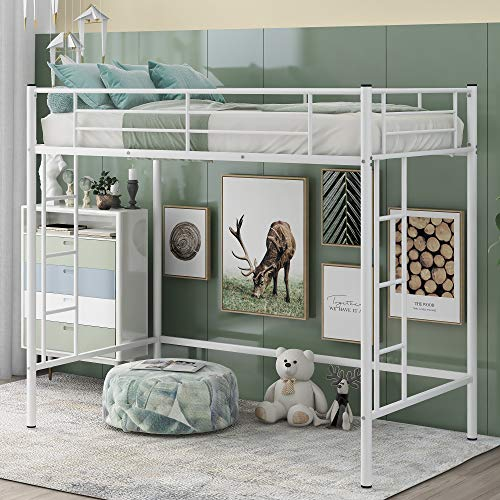 Twin Loft Bed Frame with 2 Ladders, High Metal Loft Bed for Kids, 220 lbs Weight Limits, Twin Size, White