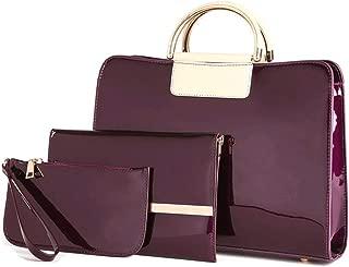 Women's Holder Handbag 3 Set PU Leather Bag Satchels Top Handle Shoulder Crossbody Bags (Color : Purple, Size : L)