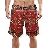 Ye Hua Tappeto Persiano, Colori Rosso Tribale Costume da Bagno per Uomo a Rapida Asciugatura Costumi da Bagno Elastici Lunghi Costumi da Bagno con Tasche M