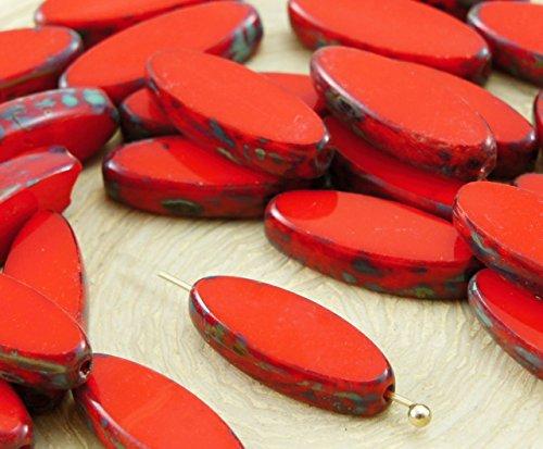 6pcs Picasso Braun Opak Coraline Coral Red Flachen Ovalen Blütenblatt Tisch am Fenster Geschnitten, Tschechische Glas-Perlen, 6mm x 16mm
