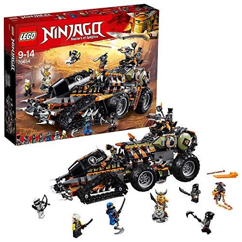 Include 7 minifigure Lego NINJAGO: Giovane Wu, Jay, Zane, Iron Baron, Metallo Pesante, Muzzol e Scassateschio Il carro armato Turbo-cingolato dei Cacciatori di dragoni è dotato di cabina di guida per minifigure apribile, piattaforma con tetto apribil...