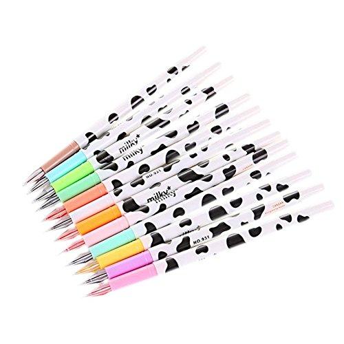 Haodou 12 Piezas Bolis de Colores Dibujo Creativo Papelería Vaca Lechosa Diamante Colorido Gel Pluma Estudiante Pluma Firma